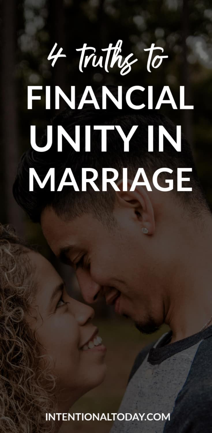 Financial unity in marriage - we all bring different financial habits into marriage. Here are four ideas to help you get on the same page.