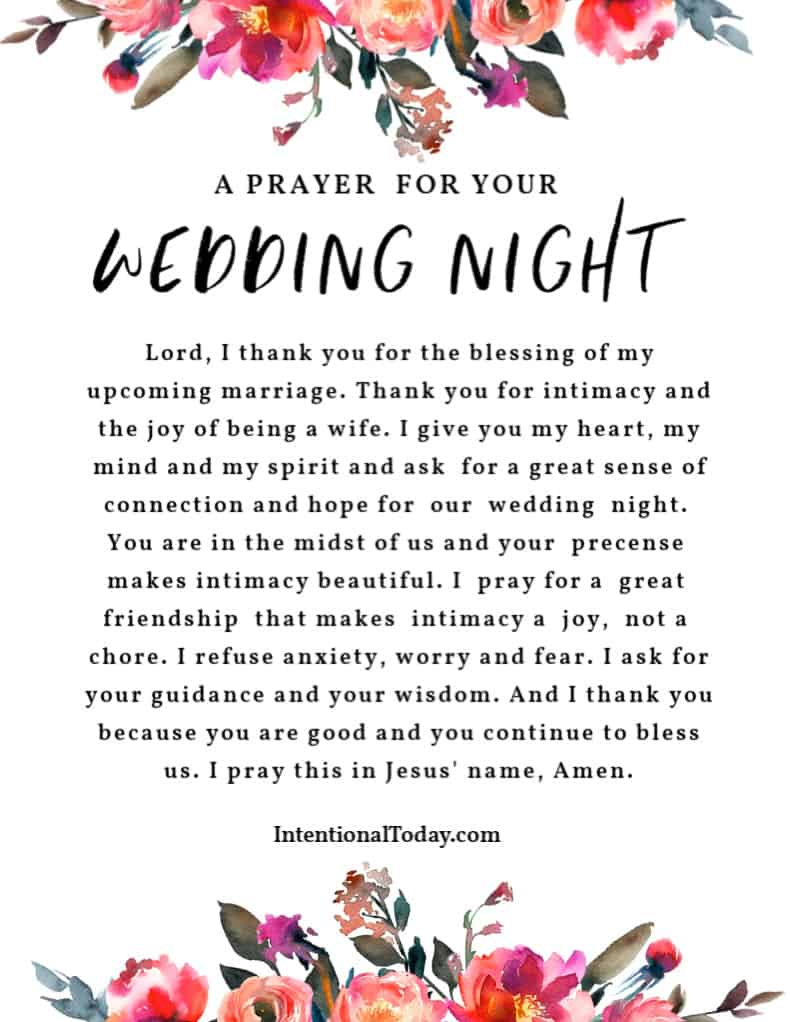 A prayer for your wedding night. Plus 39 practical tips every bride should have for her wedding night